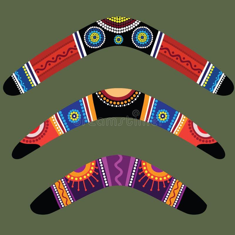 Bumerangues com projeto aborígene ilustração do vetor