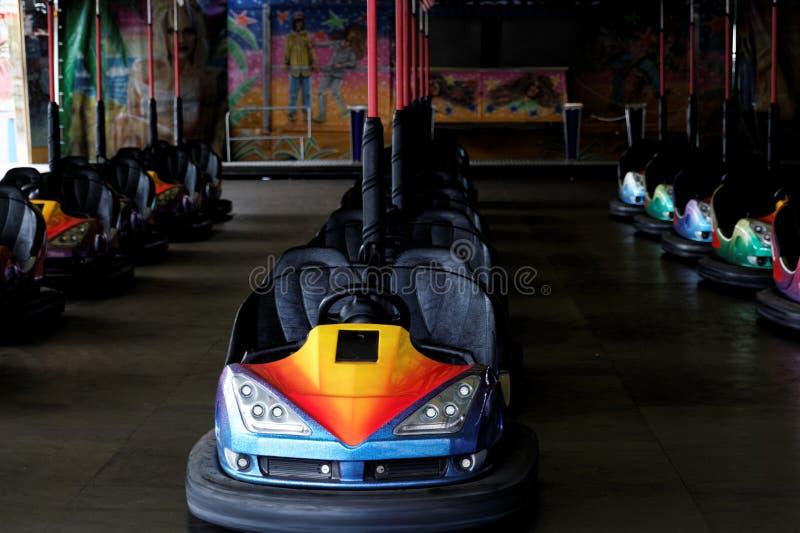 Bumper cars. In a quiet fun fair stock images