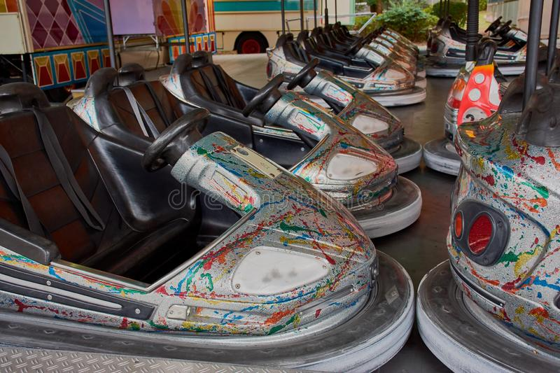 Bumber cars in a row. Bumper cars in a row on a public funfair in Germany royalty free stock photography