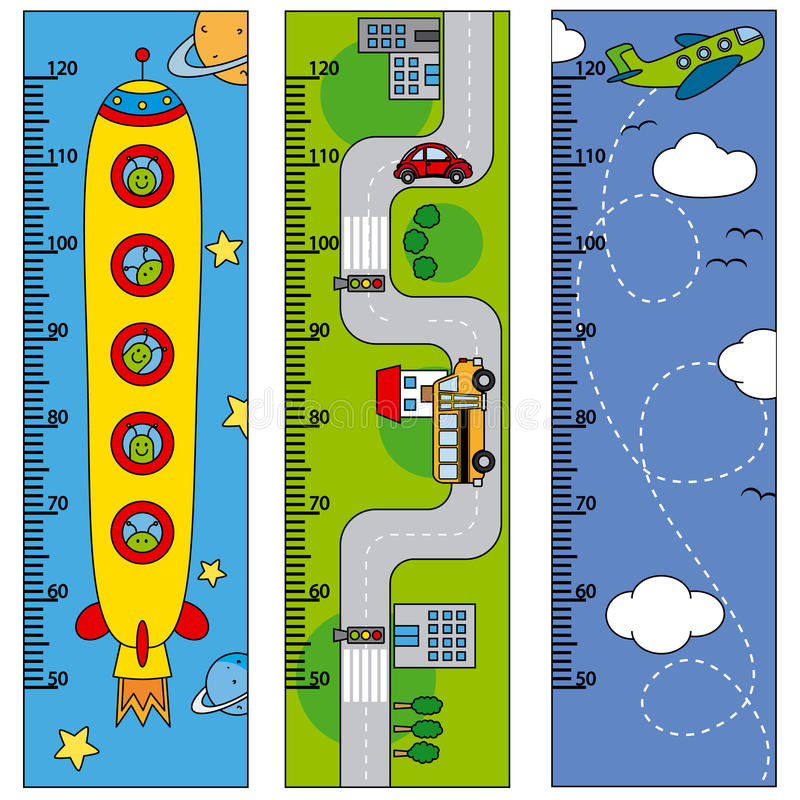 Bumper children meter wall. Meters spacecraft, cars and aircraft stock illustration