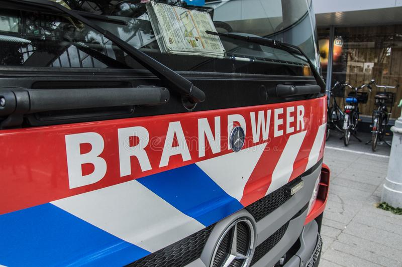 Bumper Of A Truck Of The Fire Department Of Amsterdam The Netherlands 2018 royalty free stock photography