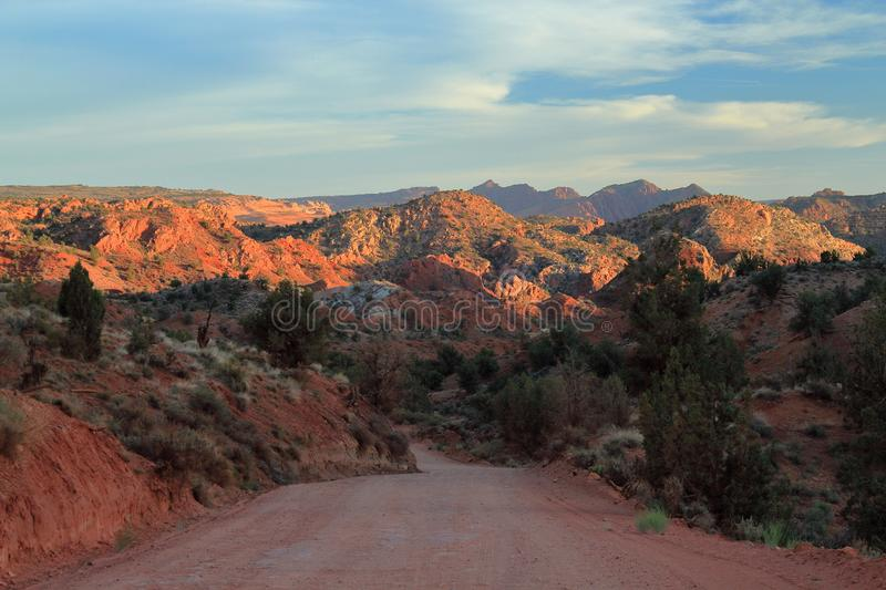 Rugged Desert Landscape along House Rock Road in Escalante National Monument at Sunset, Utah, USA. The bumpy, but beautiful, House Rock Valley Road passes royalty free stock photography