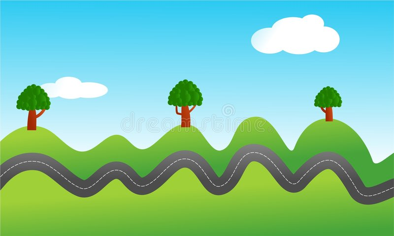 Bumpy road stock vector. Illustration of outside, graphic ... Green Road Sign Png