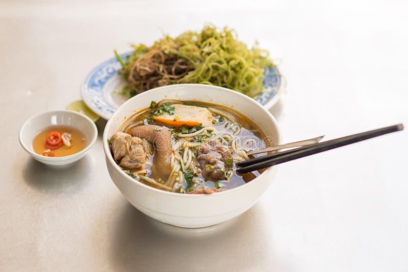 Bun Bo Hue - Vietnamese noodle. Bun Bo Hue - delicious Vietnamese noodle soup royalty free stock photo
