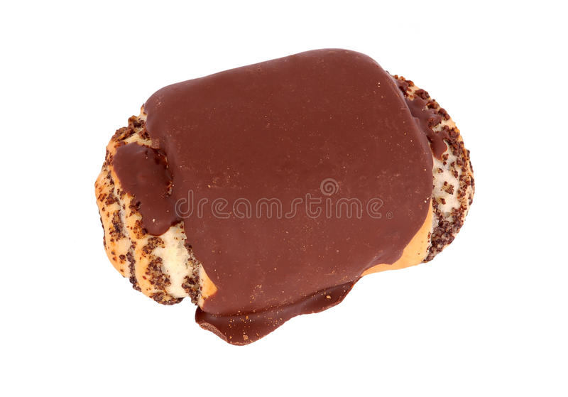 Bun with chocolate and poppy stock images