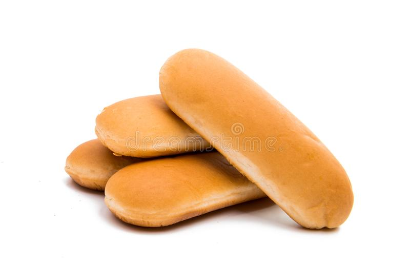 Bun roll for a hot dog. On a white background royalty free stock images