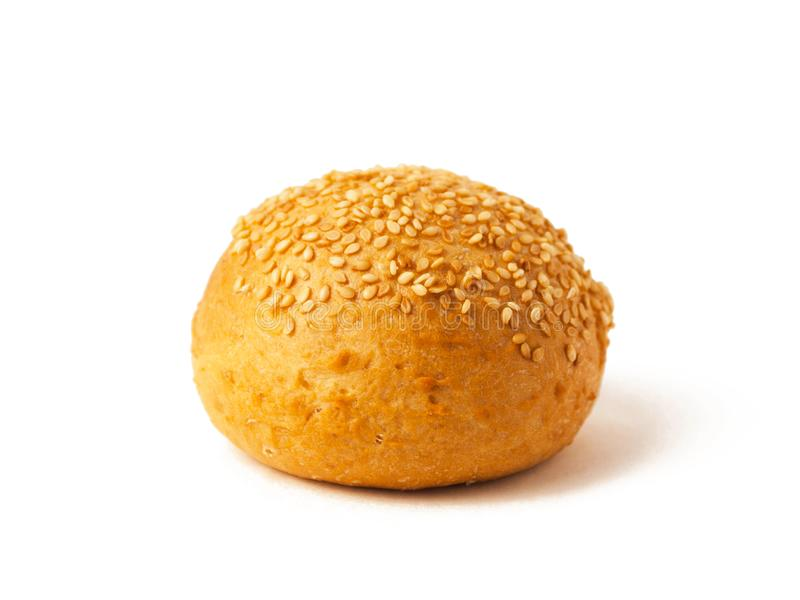 Bun with sesame seeds isolated on white background. Fast food stock image