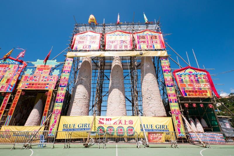 Cheung Chau Da Jiu, Bun Festival, Hong Kong. Tower, blessing. royalty free stock images
