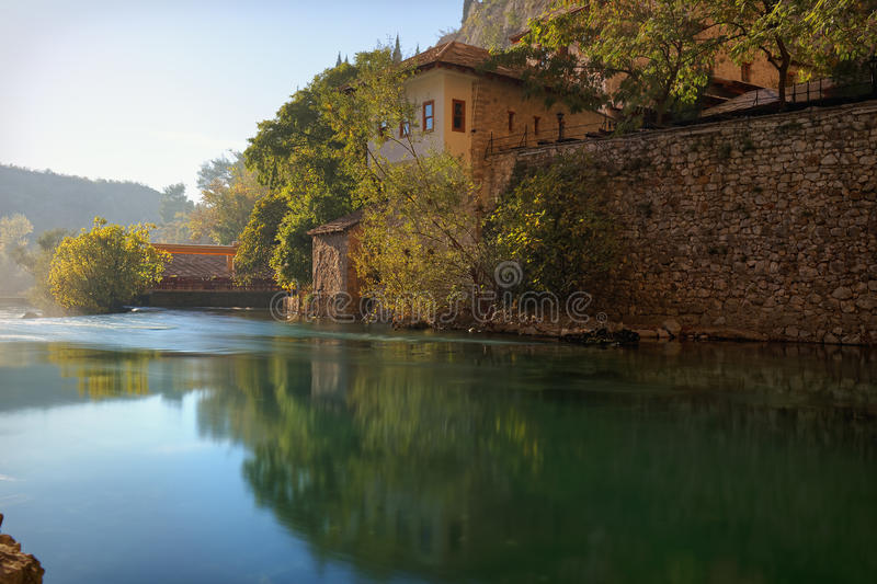 Buna river, Bosnia. And Herzegovina, Blagaj, outing spot on the banks of Buna river stock images