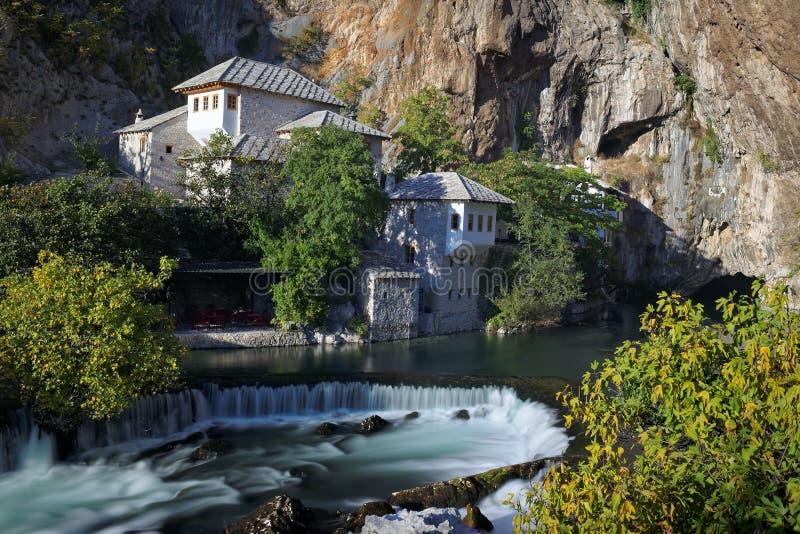 Buna river, Bosnia. Bosnia and Herzegovina near Mostar Blagaj Dervish monastery built in the 16th century right at the Buna river source stock photos