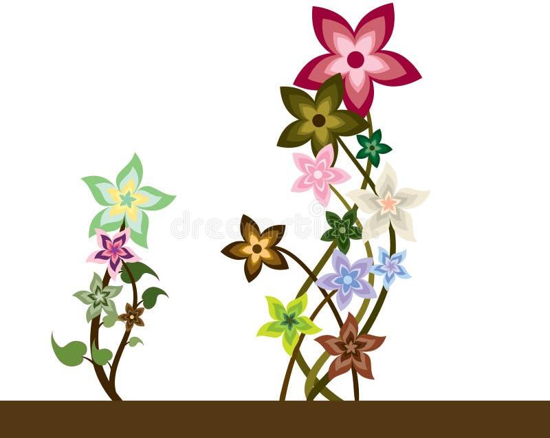 bunc blommar spiralen stock illustrationer