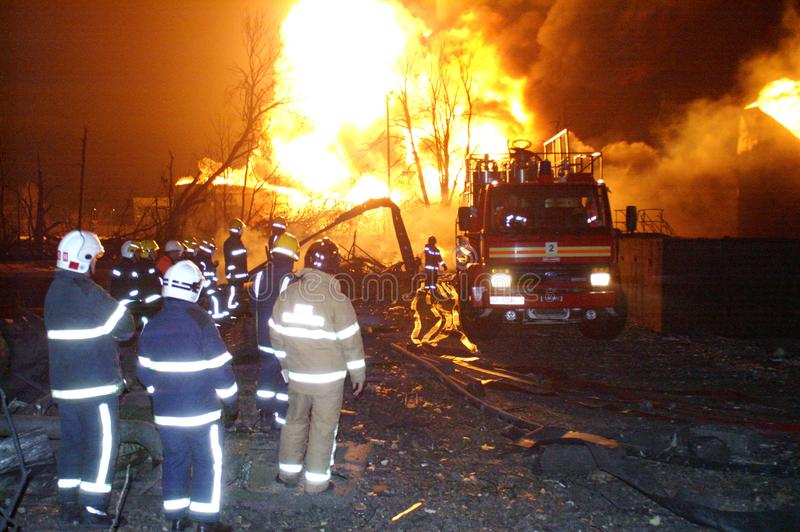 Buncefeld Fuel depot fire. Buncefield fuel depot fire and explosion 2005 royalty free stock photos