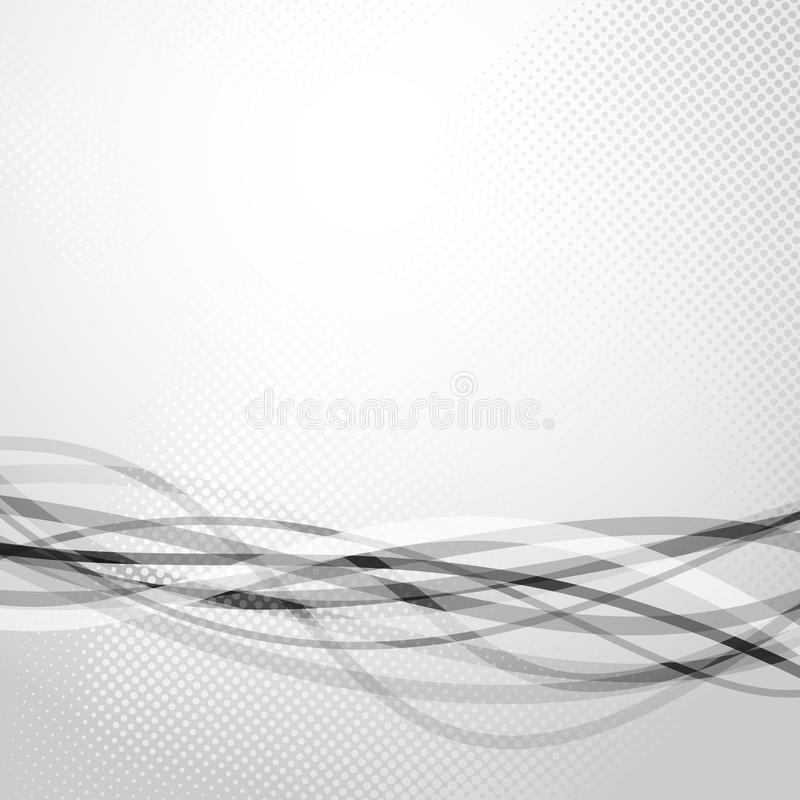 Bunch of abstract grey speed wave lines. Modern background. Vector illustration stock illustration