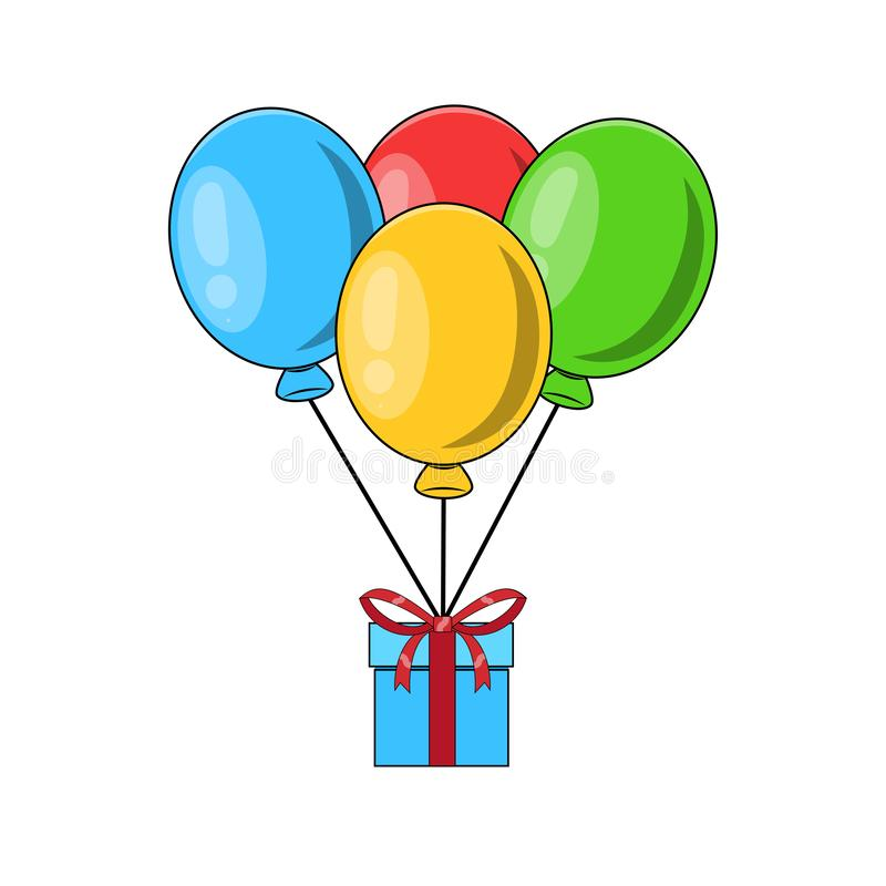 Bunch of air balloons, group of ball with ribbon, gift box, surprise, present isolated on white background. Colorful. Happy vector illustration