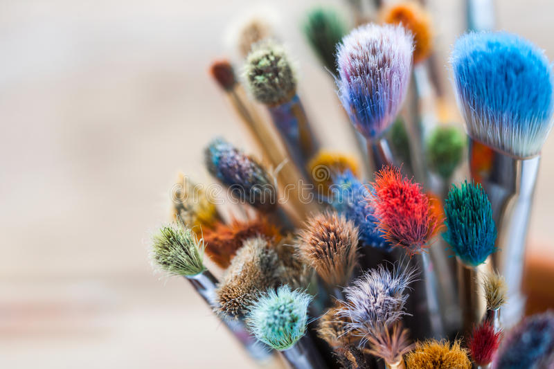 Bunch of artist paintbrushes closeup. stock photography