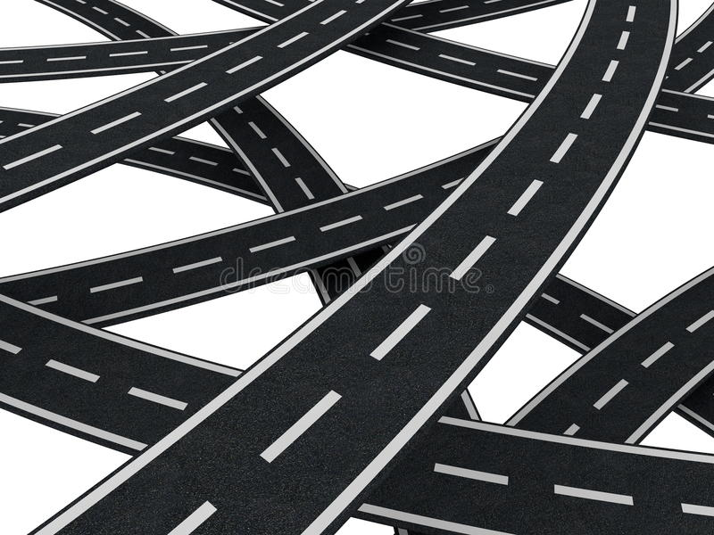 Many roads chaos. Bunch of asphalt roads over white background vector illustration