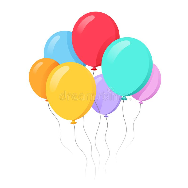 Bunch of balloons in cartoon flat style royalty free illustration