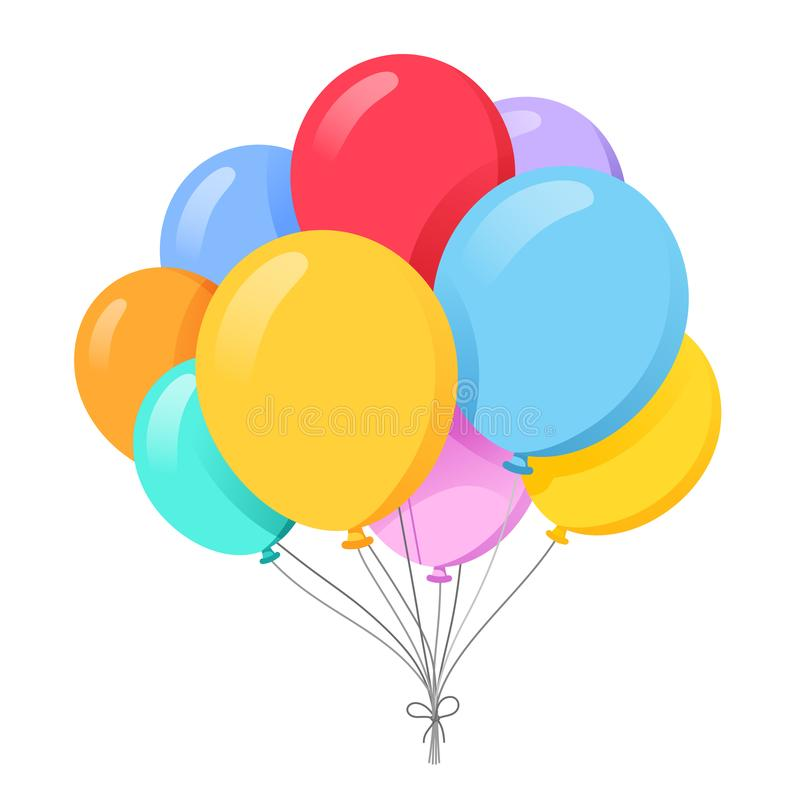 Bunch of balloons in cartoon flat style vector illustration