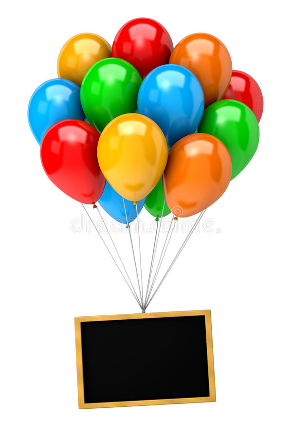 Bunch of Balloons Holding Up a Blank Chalkboard stock illustration