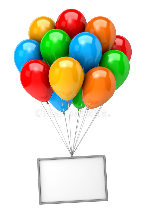 Bunch of Balloons Holding Up an Empty Banner stock illustration