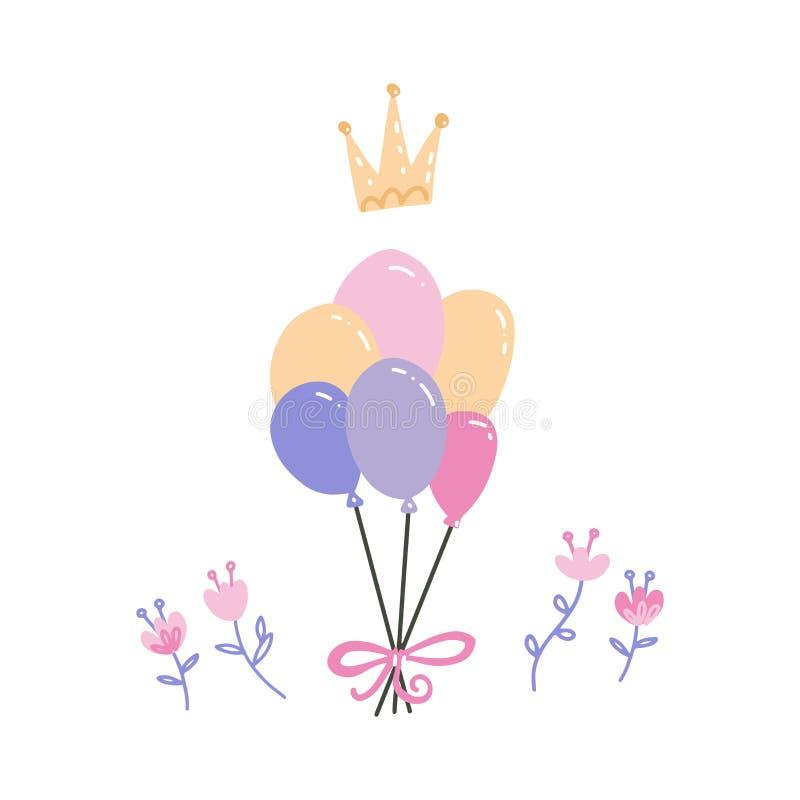 Bunch balonów wielobarwnych z koroną i kwiatami Akcesoria naręczne Urodziny, rocznica ilustracja wektor
