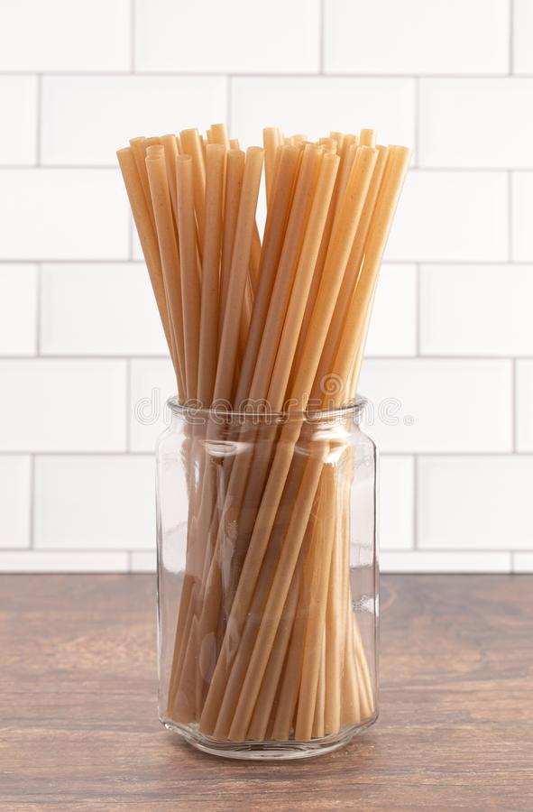 Bunch of Bamboo or Sugarcane Straws an Environmentally Friendly Alternative to Plastic. A Bunch of Bamboo or Sugarcane Straws an Environmentally Friendly royalty free stock image