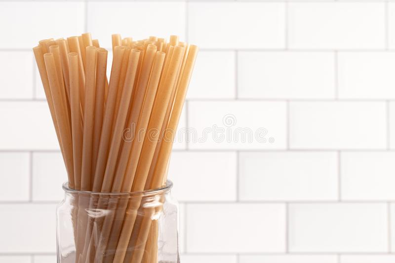 Bunch of Bamboo or Sugarcane Straws an Environmentally Friendly Alternative to Plastic. A Bunch of Bamboo or Sugarcane Straws an Environmentally Friendly royalty free stock photo