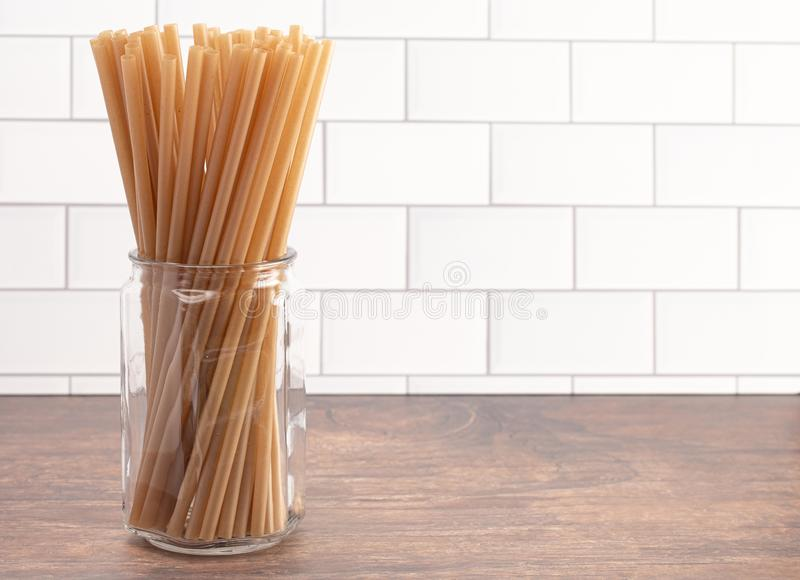 Bunch of Bamboo or Sugarcane Straws an Environmentally Friendly Alternative to Plastic. A Bunch of Bamboo or Sugarcane Straws an Environmentally Friendly stock image