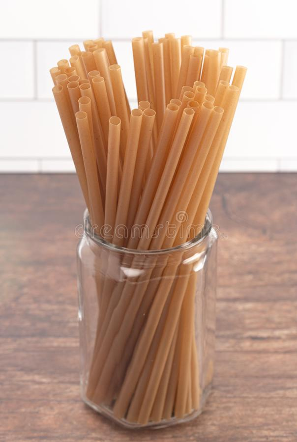 Bunch of Bamboo or Sugarcane Straws an Environmentally Friendly Alternative to Plastic. A Bunch of Bamboo or Sugarcane Straws an Environmentally Friendly royalty free stock photos