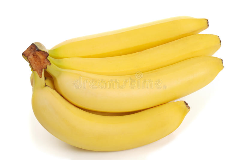 Bunch of bananas on white royalty free stock photos