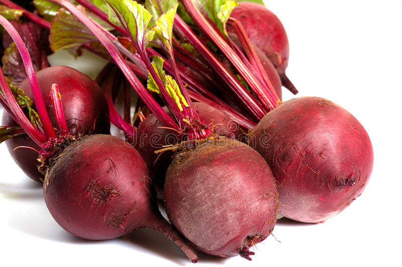 Bunch of beets. Bunch of leafy fresh beets isolated on white royalty free stock image