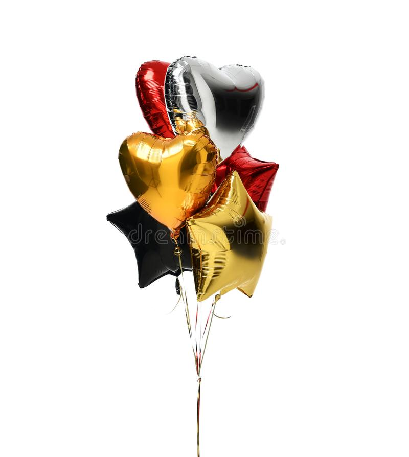Bunch of big white red silver and gold heart balloons objects royalty free stock images