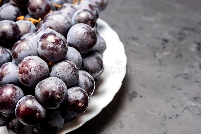 Bunch of black ripe grapes on a white plate stock photography