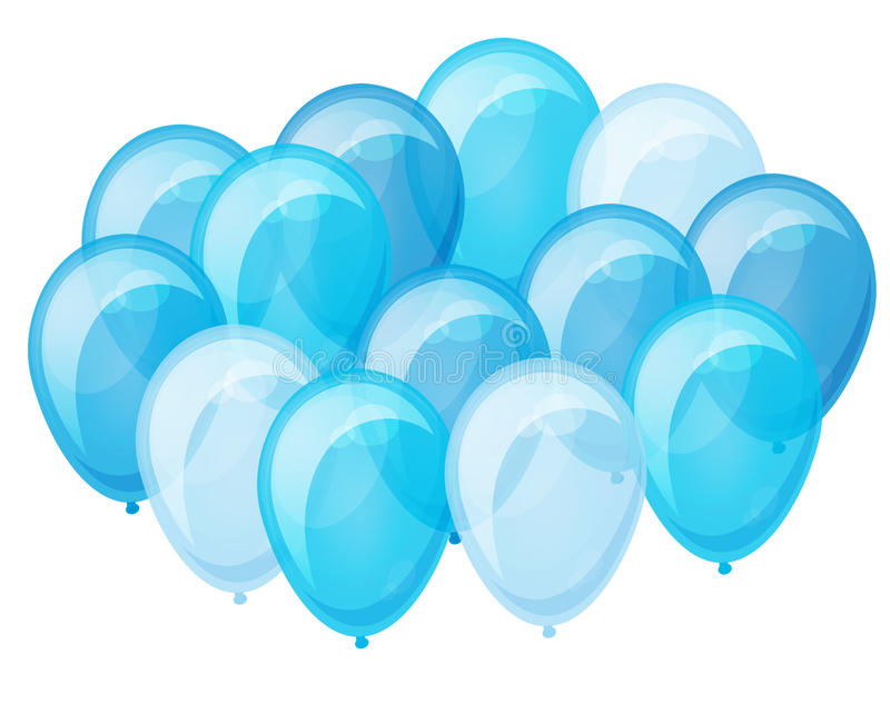 Bunch of blue balloons flying up. royalty free stock images