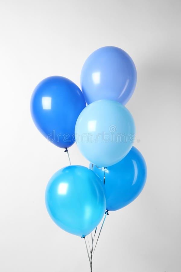 Bunch of blue balloons. Greeting card. Bunch of blue balloons on white background. Greeting card royalty free stock photography