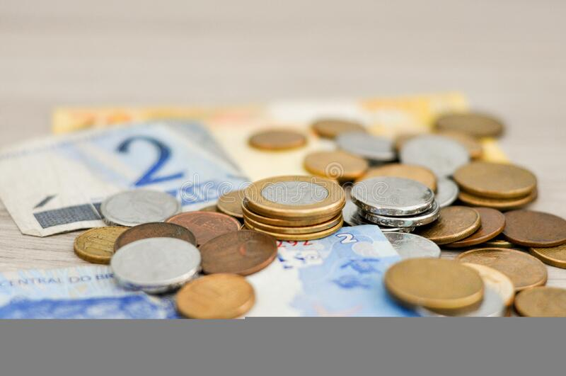 Bunch of Bronze and Silver Coin and Banknote royalty free stock photos
