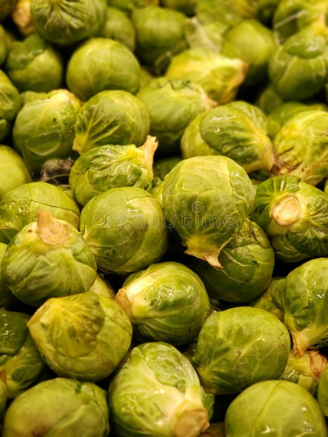 Bunch of Brussel sprouts stock images