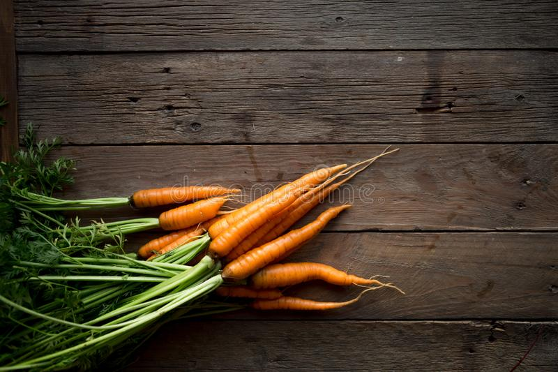 A bunch of carrots . Fresh carrots, beetroot  heap with green stems. Raw Carrots and beetroot on rustic  wooden back stock photo