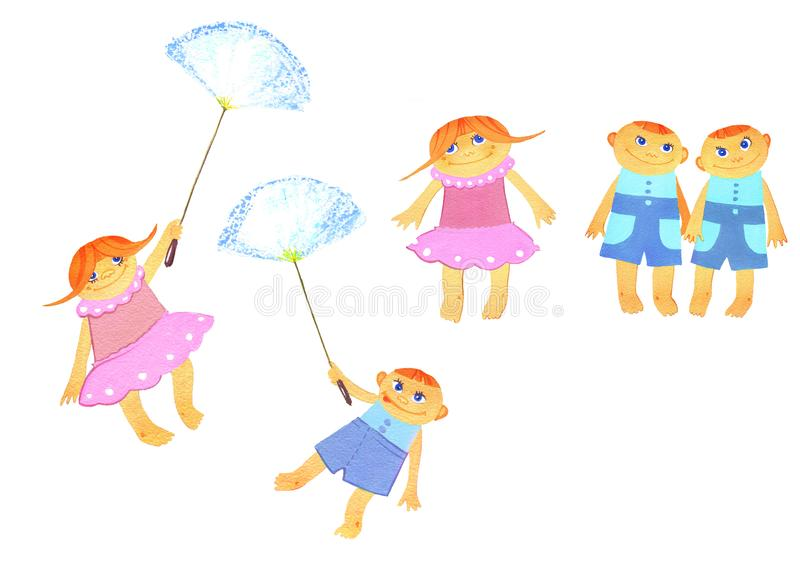 Bunch of children, Two girls and three boys with a dandelion stock illustration