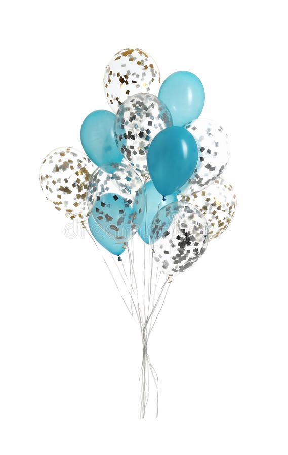Bunch of color balloons. Isolated on white royalty free stock photos