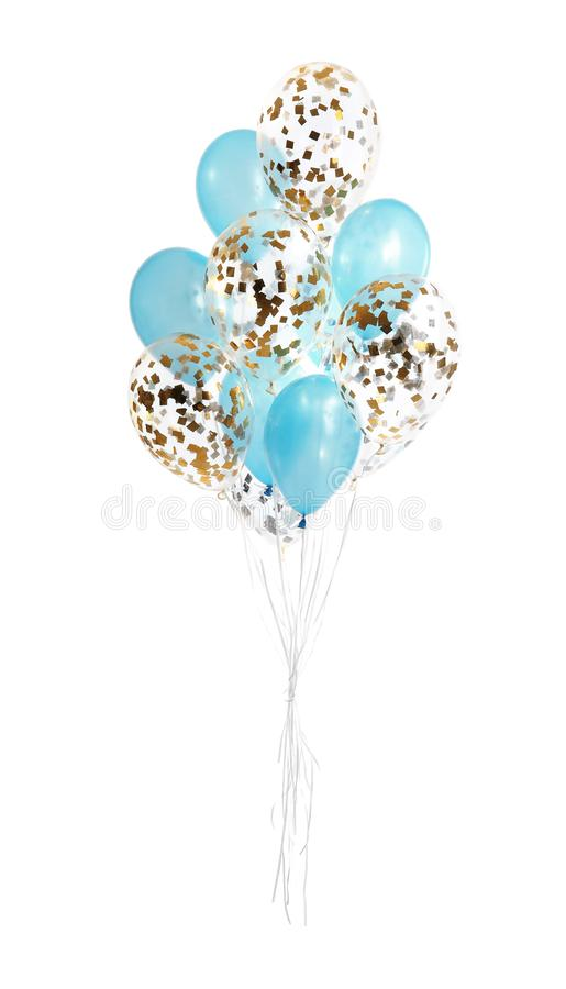 Bunch of color balloons. Isolated on white stock photos