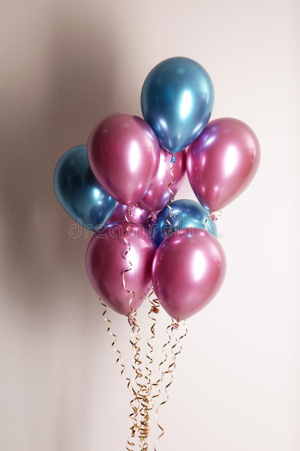 Bunch of color balloons. On white background royalty free stock images