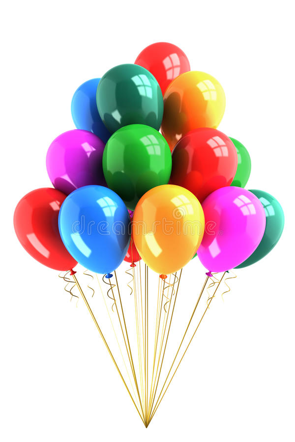 Bunch of colored balloons stock illustration