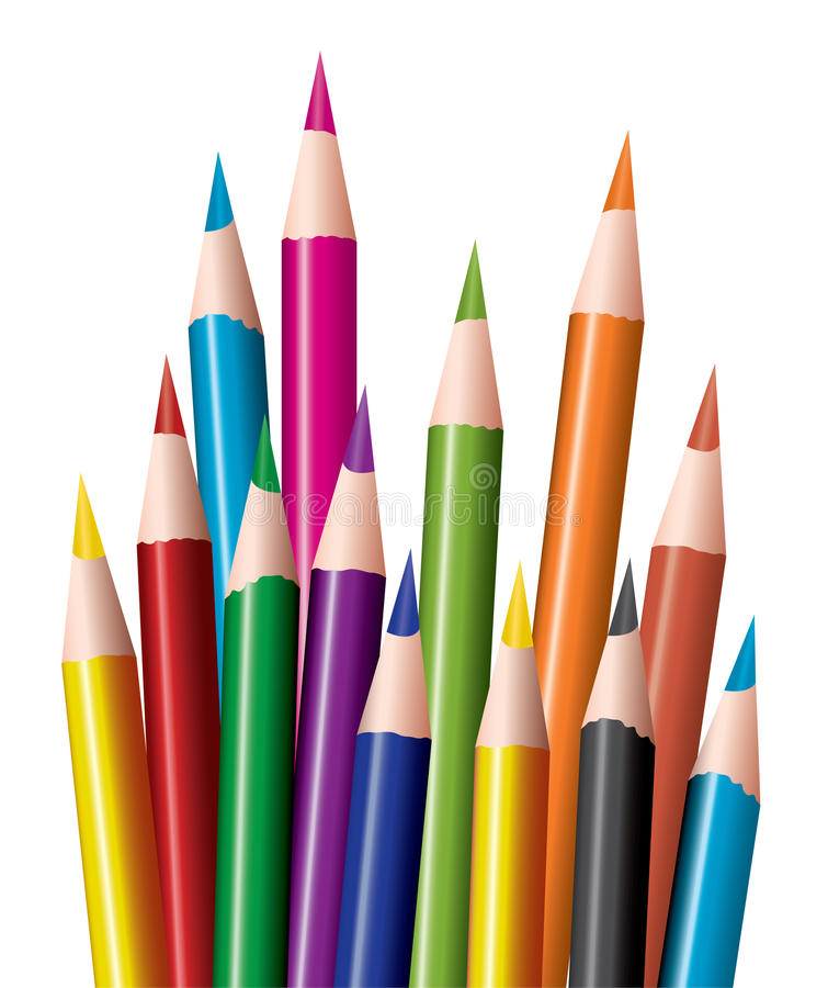 Bunch of colored pencils royalty free illustration