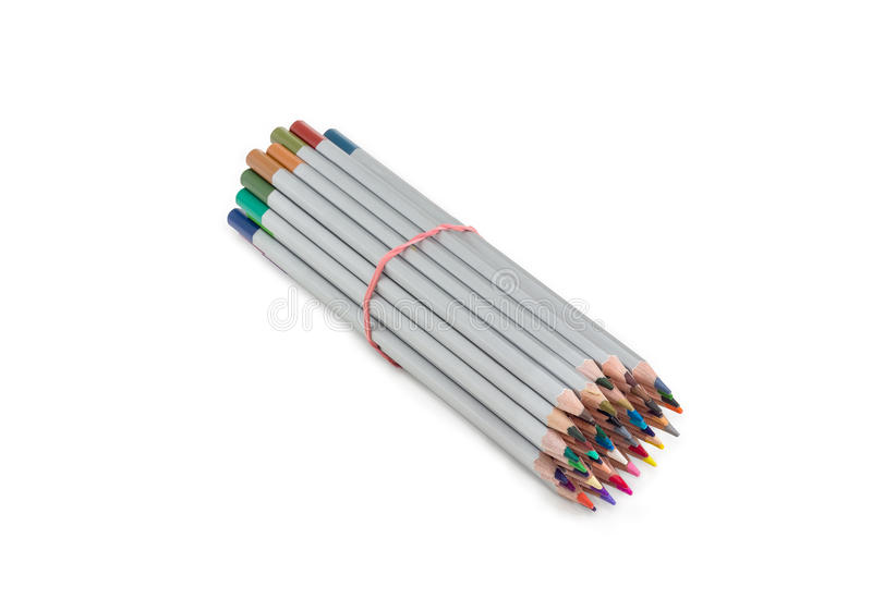 Bunch of colored pencils, tied with a rubber band stock photo