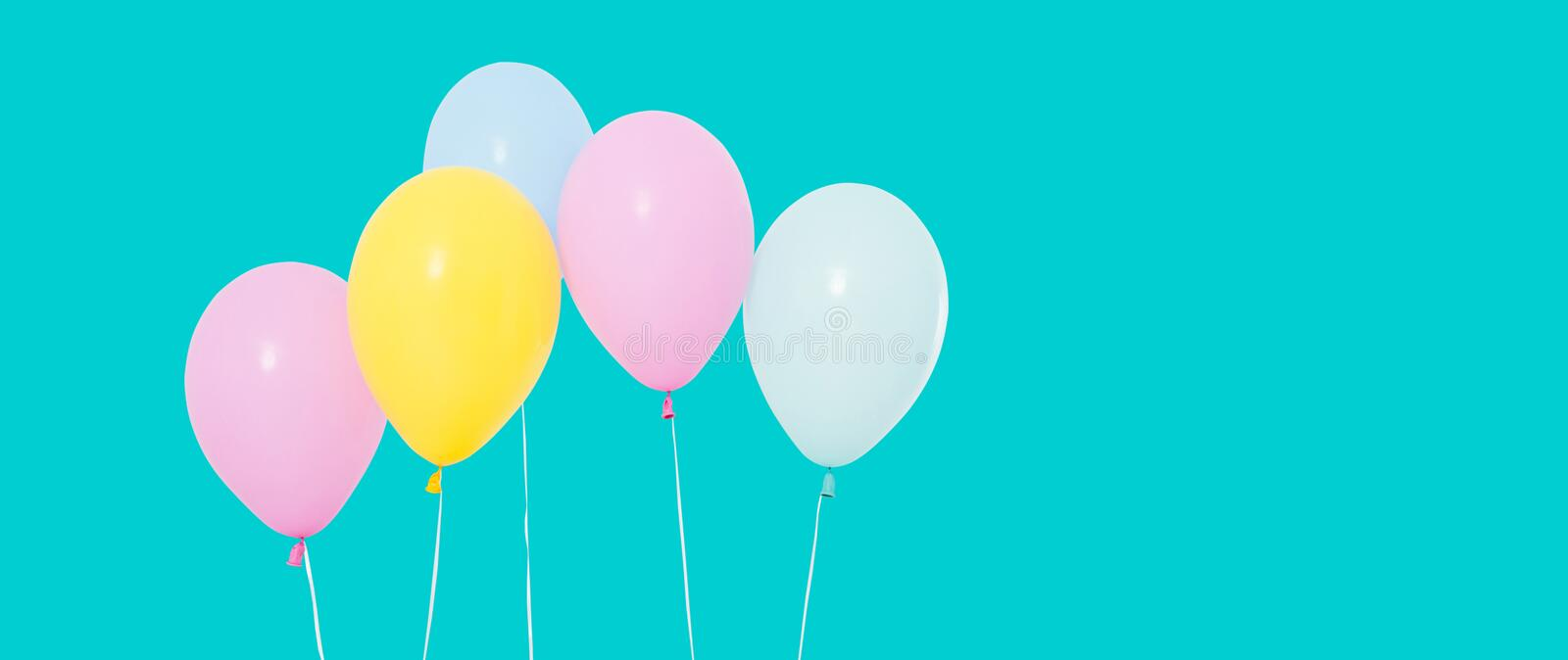 Bunch of colorful balloons on background - copy space royalty free stock image