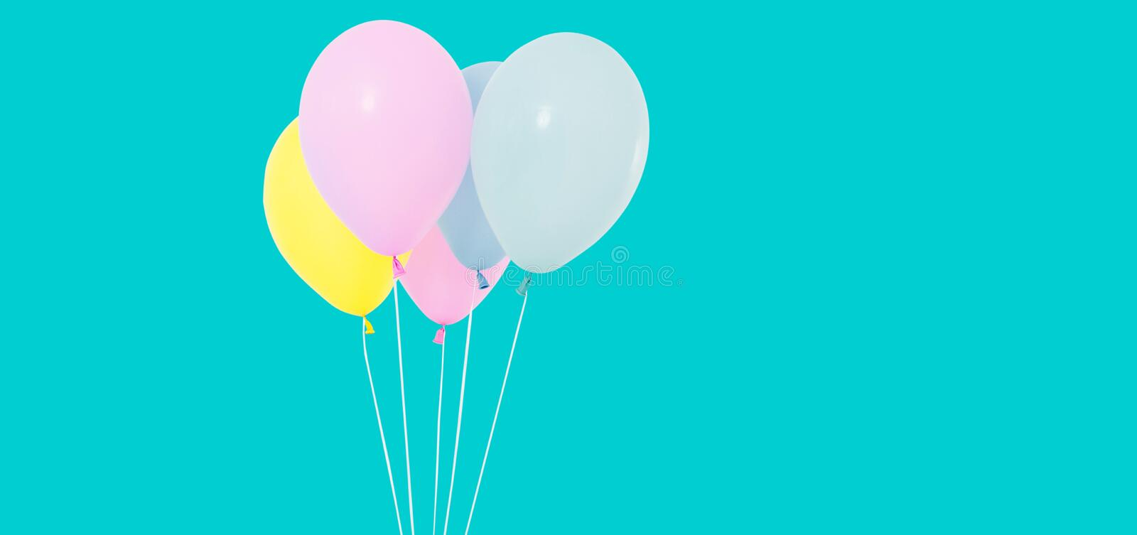 Bunch of colorful balloons on background - copy space royalty free stock photo