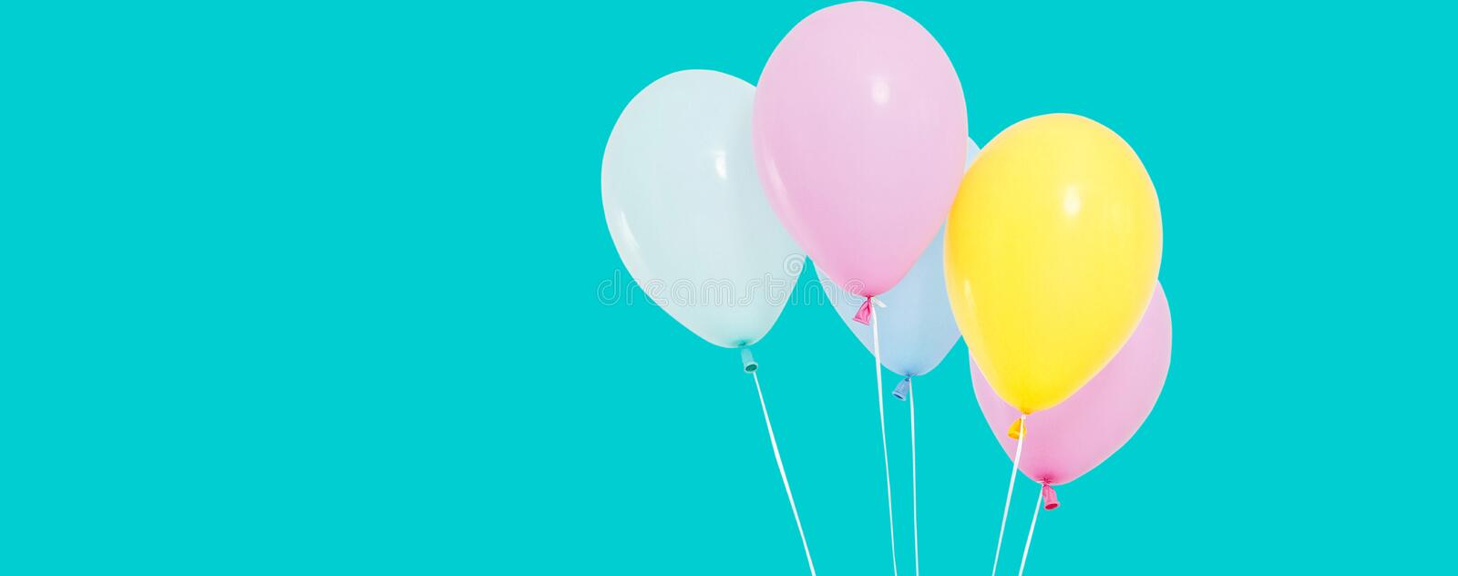 Bunch of colorful balloons on background - copy space stock image