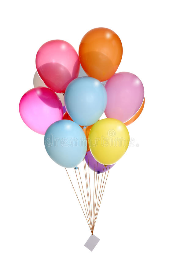 Bunch Of Colorful Balloons Flying Int The Air Stock Photos