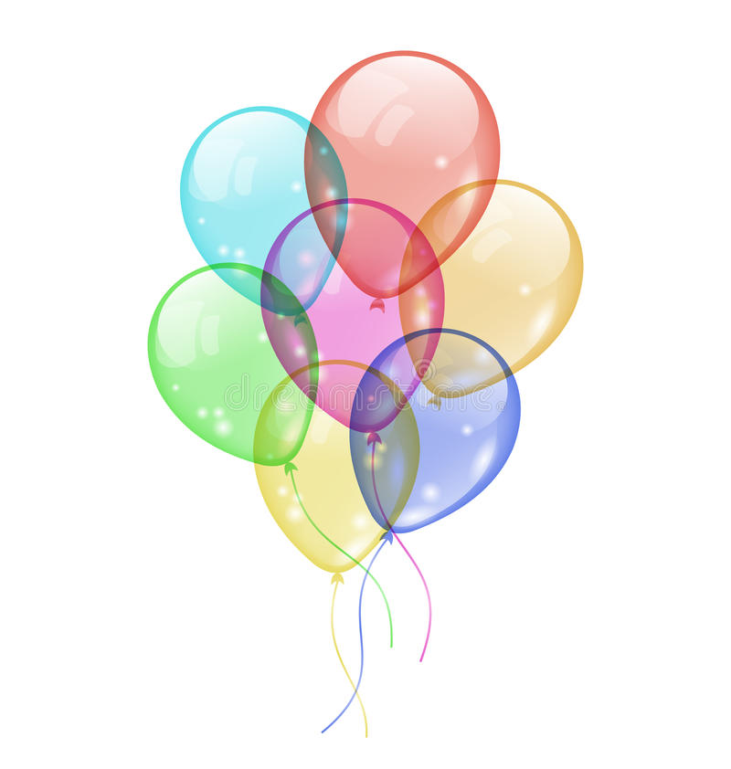 Bunch colorful balloons isolated on white backgrou vector illustration